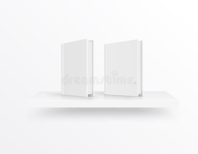 Cubierta de libro en blanco en el estante sobre fondo ligero Vector stock de ilustración