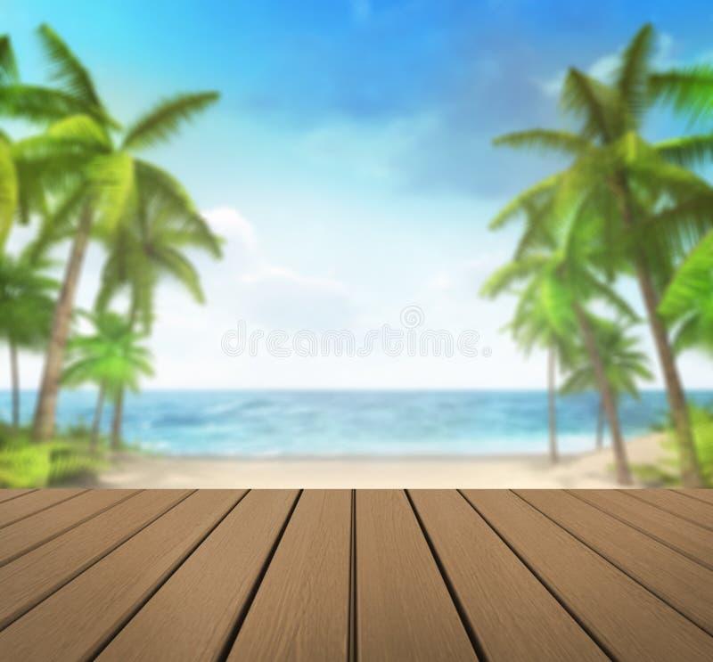 Cubierta de madera con el fondo tropical de las palmas ilustración del vector
