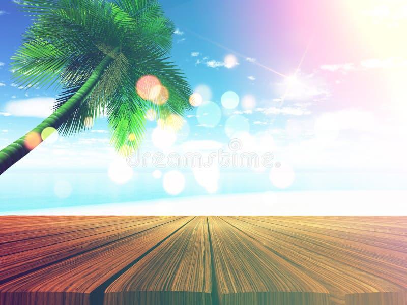 cubierta de madera 3D con la playa tropical en fondo stock de ilustración