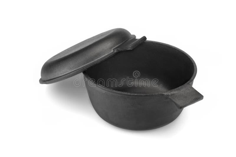 Cubierta de Oven Or Pot With Pan del holandés del arrabio aislada imagenes de archivo