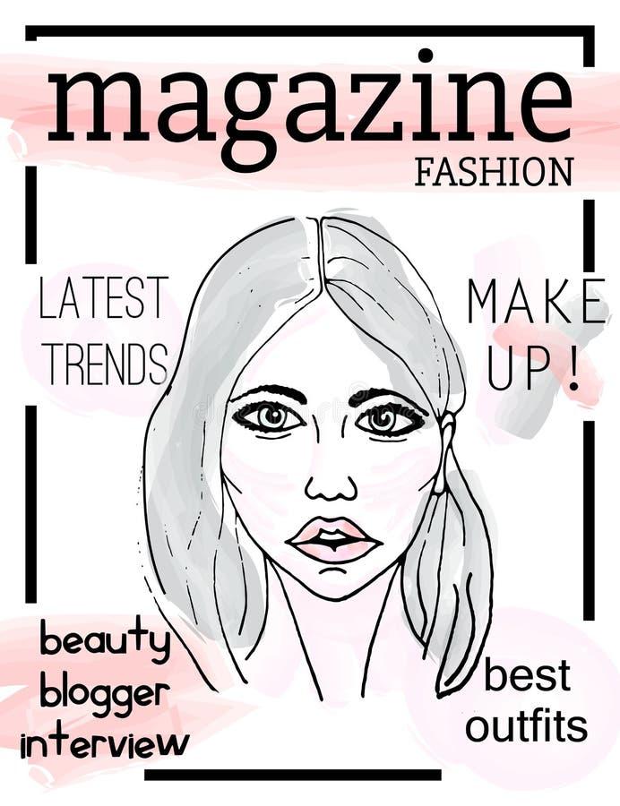 Cubierta de revista de moda con la cara del ` s de la muchacha stock de ilustración