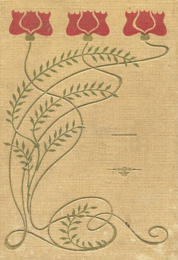 Cubierta de un libro viejo de los modelos y de los colores de la tela stock de ilustración