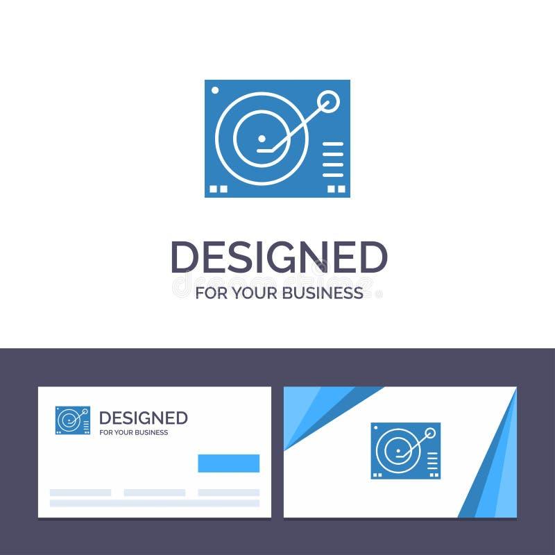 Cubierta de visita de la plantilla creativa de la tarjeta y del logotipo, dispositivo, fonógrafo, jugador, ejemplo de registro de stock de ilustración