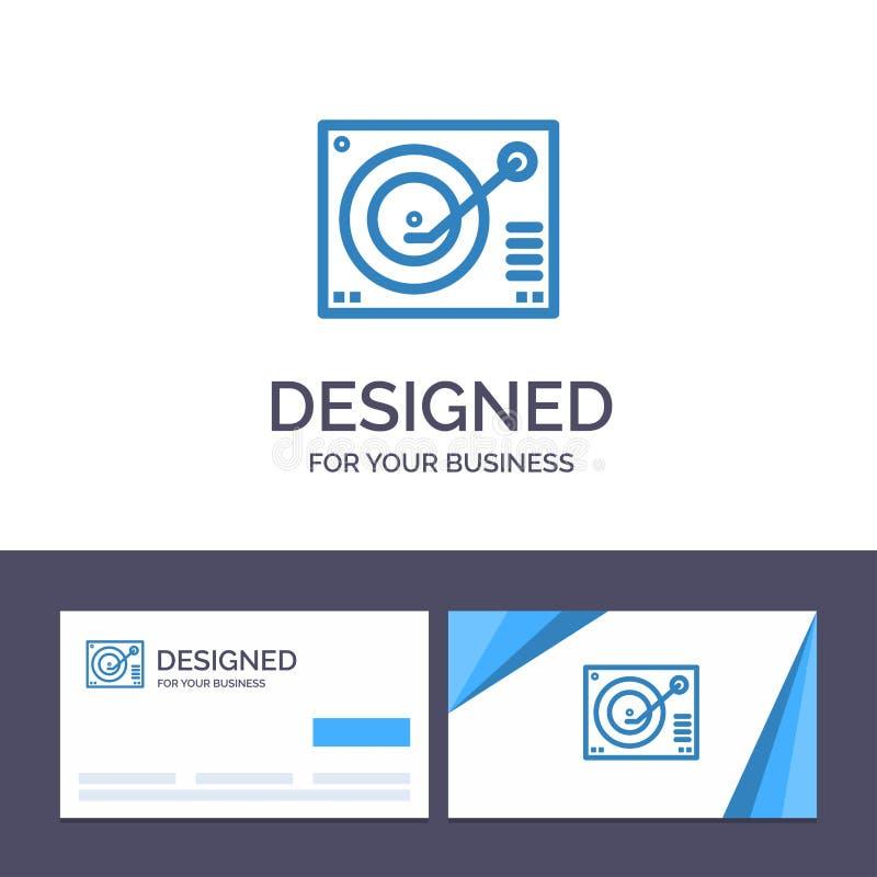 Cubierta de visita de la plantilla creativa de la tarjeta y del logotipo, dispositivo, fonógrafo, jugador, ejemplo de registro de libre illustration