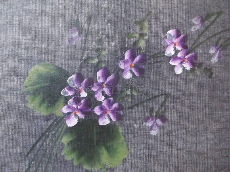 Cubierta del álbum del vintage con las violetas pintadas foto de archivo