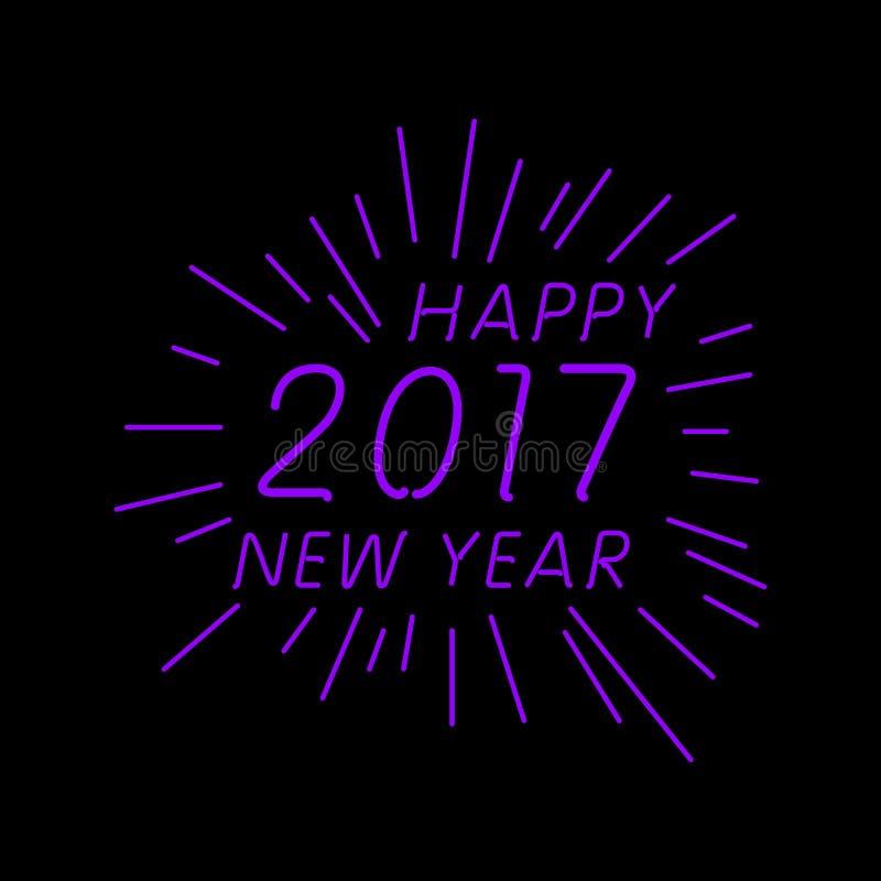 Cubierta del calendario de la Feliz Año Nuevo 2017, ejemplo tipográfico del vector libre illustration