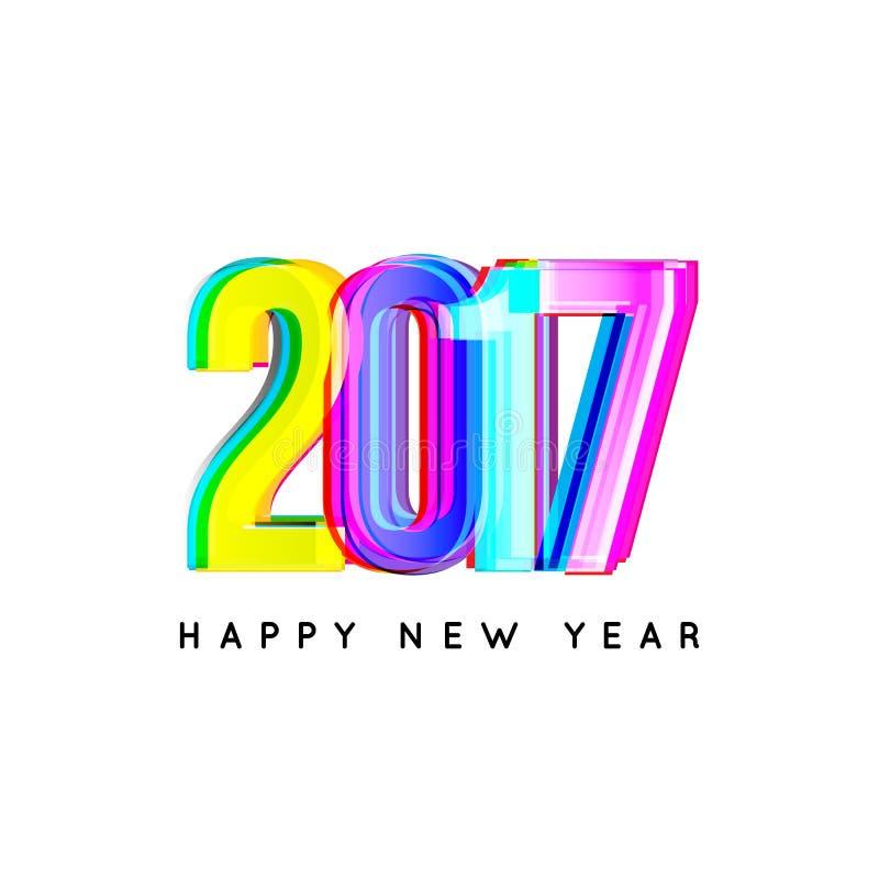 Cubierta del calendario de la Feliz Año Nuevo 2017, ejemplo tipográfico del vector Diseño colorido libre illustration