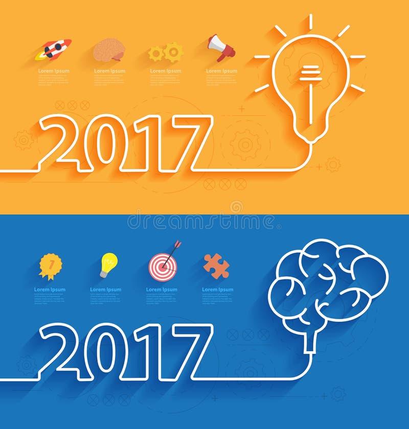 Cubierta del calendario del Año Nuevo 2017 del vector libre illustration