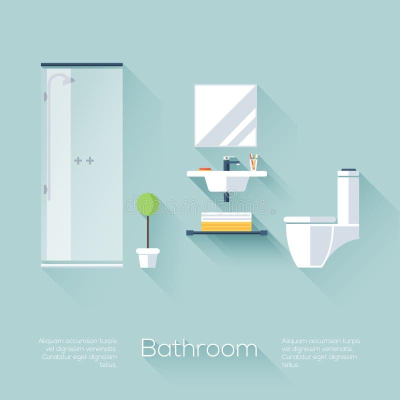 Cubierta del cuarto de baño con la ducha, el fregadero y el retrete Estilo plano con las sombras largas Diseño de moda moderno libre illustration