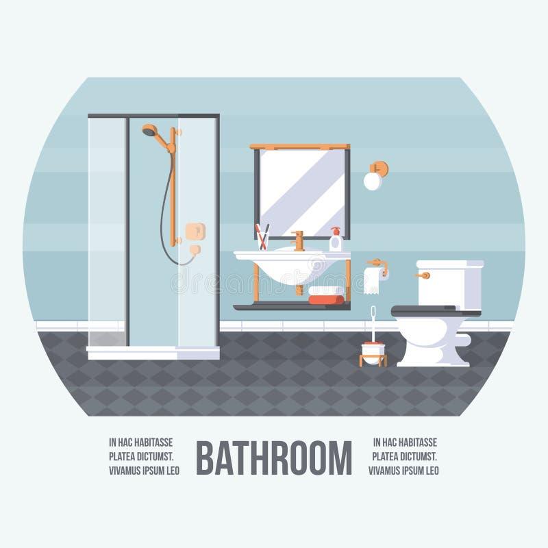 Cubierta del cuarto de baño con la ducha, el fregadero y el retrete Estilo retro del vintage con los elementos planos Diseño de m ilustración del vector