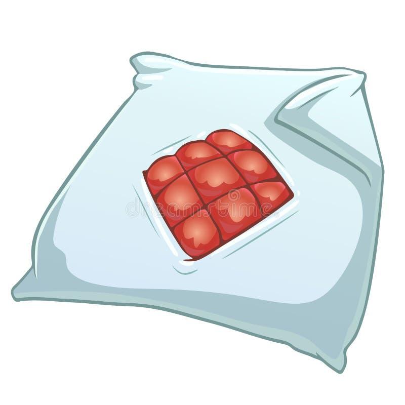 Cubierta del edredón de la historieta con la manta roja stock de ilustración