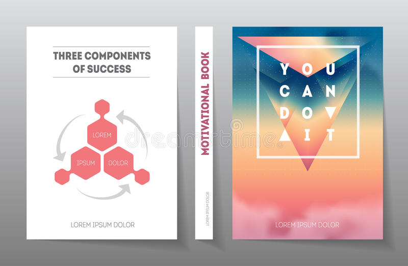 Cubierta del libro o del diario de motivación Presentación - tres co ilustración del vector