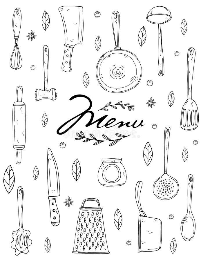 Cubierta del menú con artículos de cocina, la especia y las letras exhaustos de la mano en un fondo blanco stock de ilustración