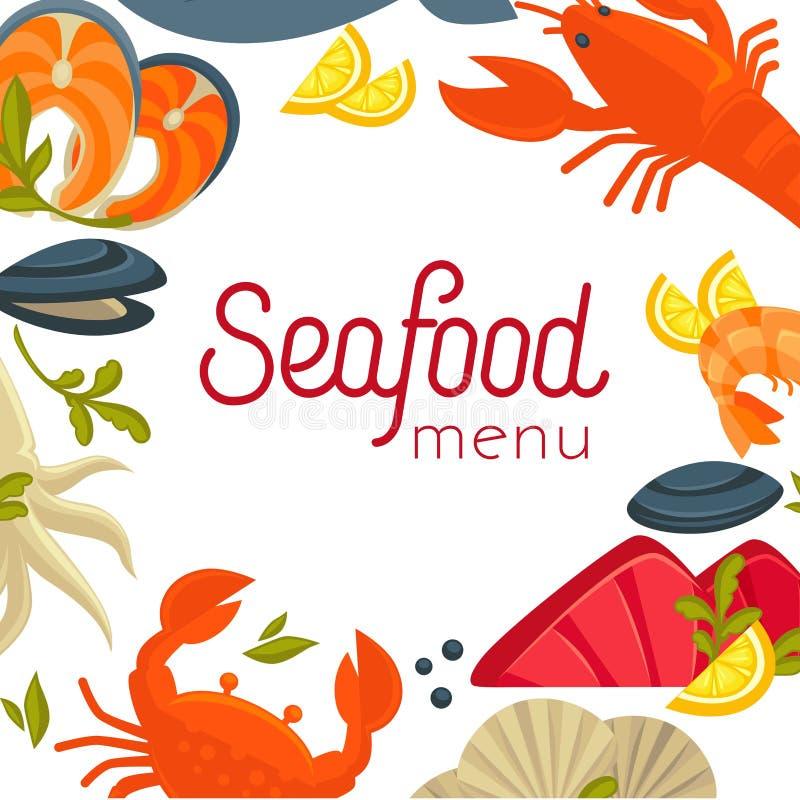 Cubierta del menú de los mariscos con la comida exótica como marco ilustración del vector