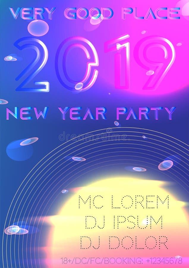 Cubierta del partido del Año Nuevo 2019 futurista libre illustration