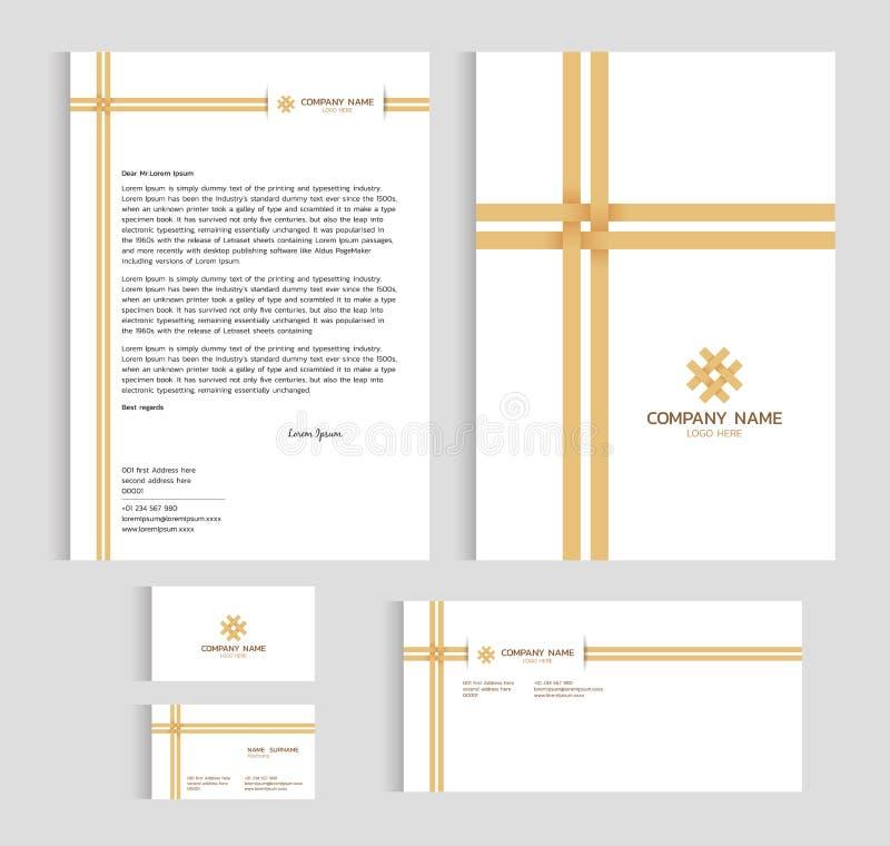 Cubierta del tamaño A4 de la plantilla de la disposición, tarjeta de visita de la página y letra - diseño determinado de bambú de libre illustration