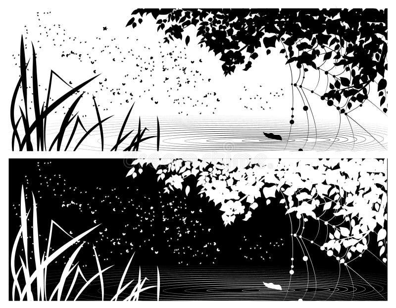 Cubierta del vector para las redes sociales, con la imagen del verano, día y noche ilustración del vector