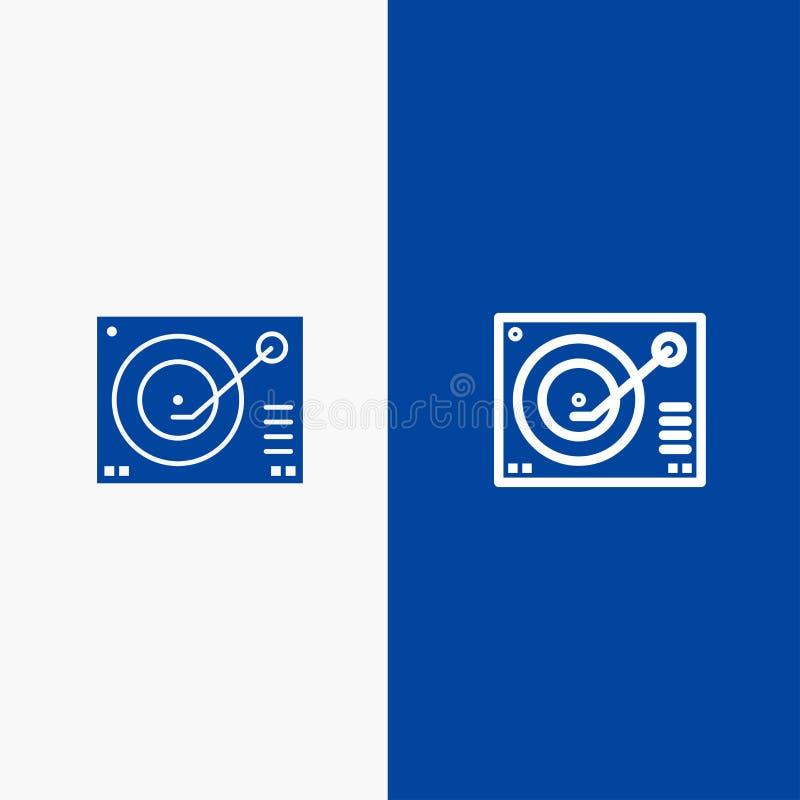 Cubierta, dispositivo, fonógrafo, jugador, bandera azul de bandera del icono sólido de registro de la línea y del Glyph del icono ilustración del vector