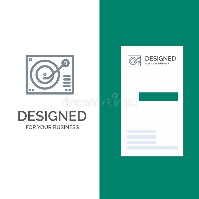Cubierta, dispositivo, fonógrafo, jugador, expediente Grey Logo Design y plantilla de la tarjeta de visita ilustración del vector