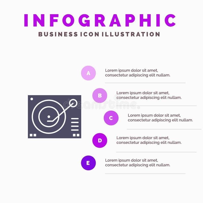 Cubierta, dispositivo, fonógrafo, jugador, fondo sólido de registro de la presentación de los pasos de Infographics 5 del icono stock de ilustración