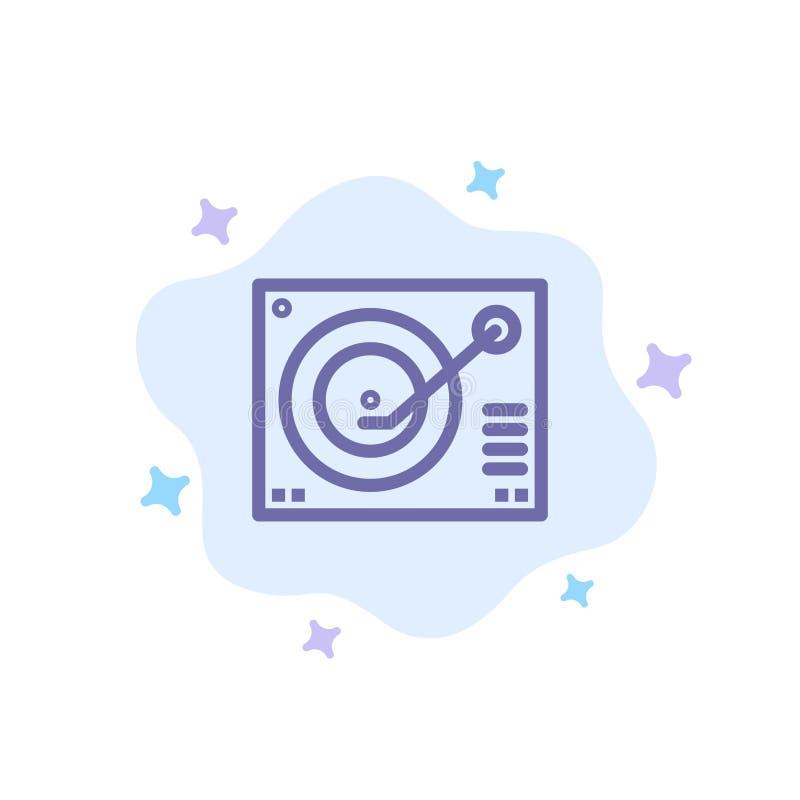 Cubierta, dispositivo, fonógrafo, jugador, icono azul de registro en fondo abstracto de la nube ilustración del vector