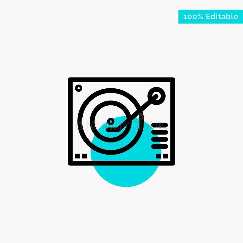 Cubierta, dispositivo, fonógrafo, jugador, icono de registro del vector del punto del círculo del punto culminante de la turquesa libre illustration