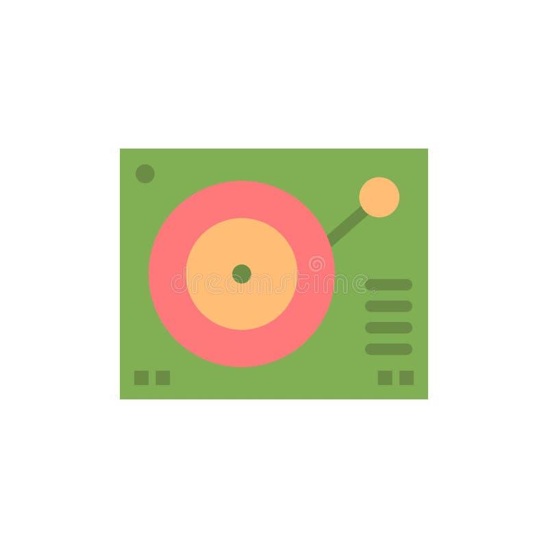 Cubierta, dispositivo, fonógrafo, jugador, icono plano de registro del color Plantilla de la bandera del icono del vector stock de ilustración