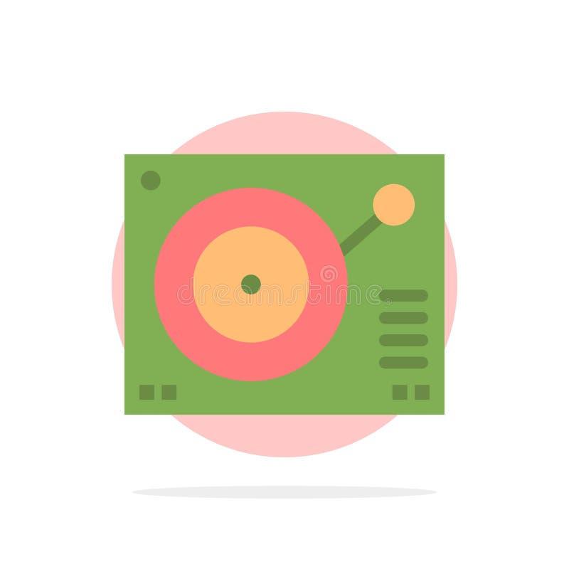 Cubierta, dispositivo, fonógrafo, jugador, icono plano del color de fondo abstracto de registro del círculo ilustración del vector