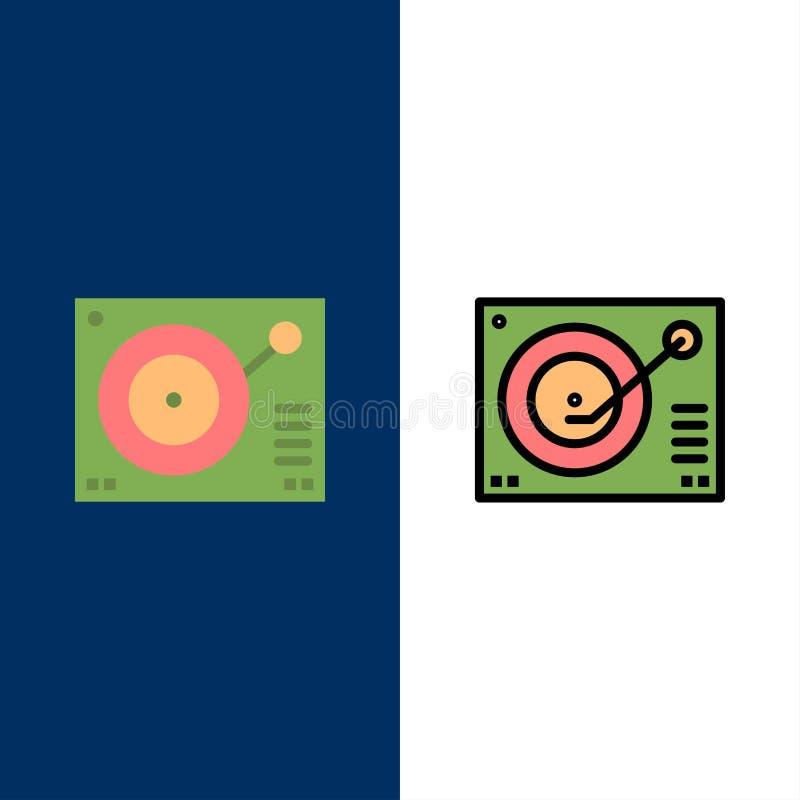 Cubierta, dispositivo, fonógrafo, jugador, iconos de registro El plano y la línea icono llenado fijaron el fondo azul del vector stock de ilustración