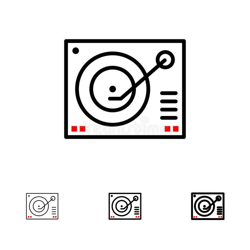 Cubierta, dispositivo, fonógrafo, jugador, línea negra intrépida y fina de registro sistema del icono libre illustration