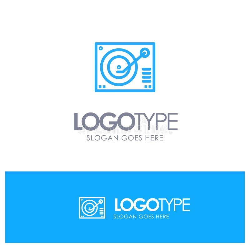 Cubierta, dispositivo, fonógrafo, jugador, logotipo azul de registro del esquema con el lugar para el tagline stock de ilustración