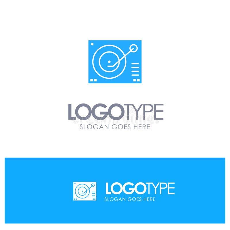 Cubierta, dispositivo, fonógrafo, jugador, logotipo sólido azul de registro con el lugar para el tagline ilustración del vector