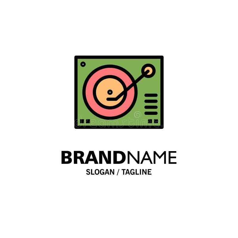 Cubierta, dispositivo, fonógrafo, jugador, negocio de registro Logo Template color plano libre illustration