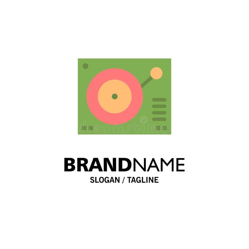 Cubierta, dispositivo, fonógrafo, jugador, negocio de registro Logo Template color plano stock de ilustración