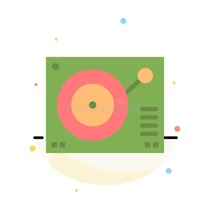 Cubierta, dispositivo, fonógrafo, jugador, plantilla plana abstracta de registro del icono del color ilustración del vector
