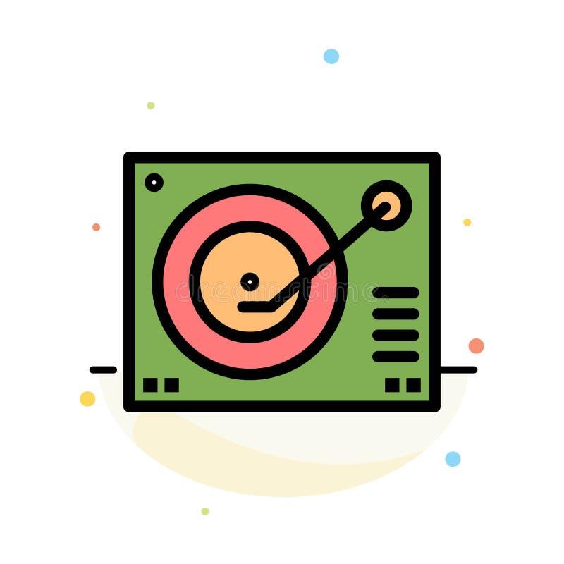 Cubierta, dispositivo, fonógrafo, jugador, plantilla plana abstracta de registro del icono del color stock de ilustración