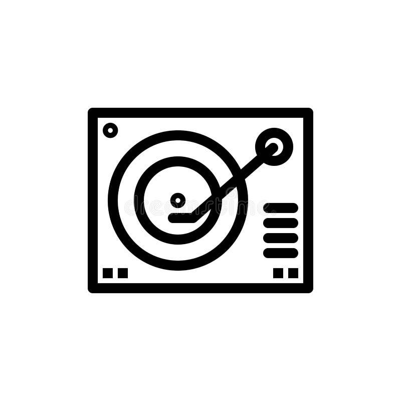 Cubierta, dispositivo, fonógrafo, jugador, transferencia directa azul y roja de registro y ahora comprar la plantilla de la tarje ilustración del vector
