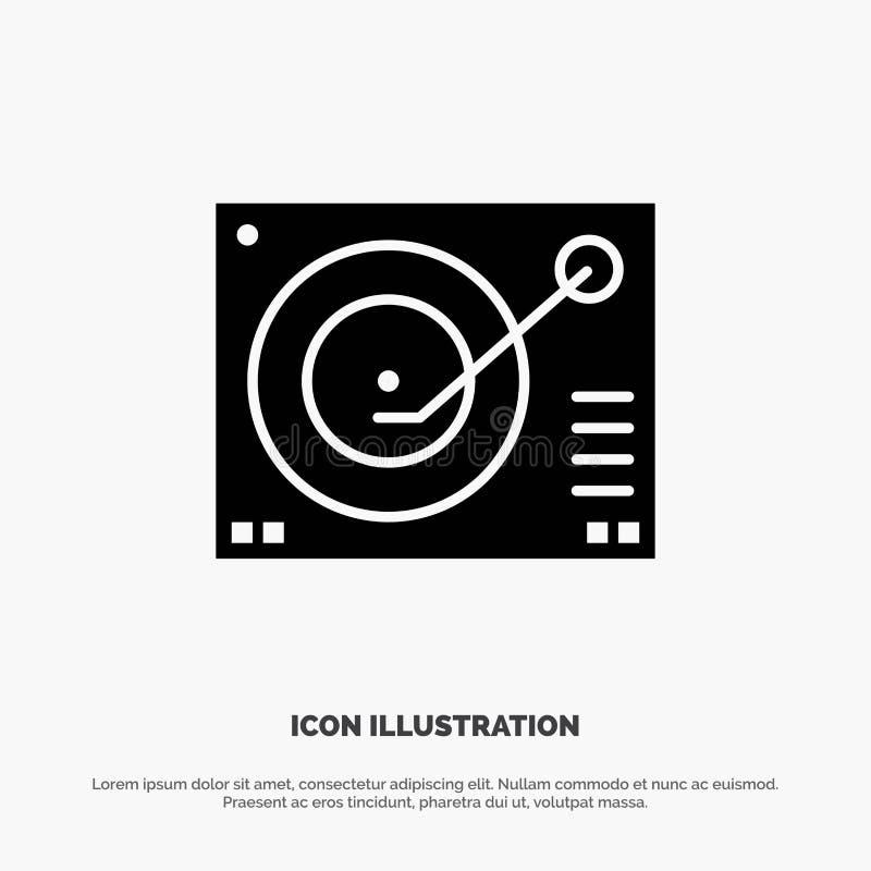Cubierta, dispositivo, fonógrafo, jugador, vector sólido de registro del icono del Glyph libre illustration
