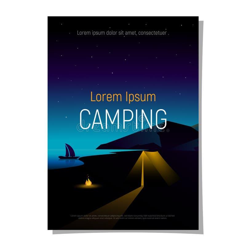 Cubierta, folleto para el viaje, aventura, caminando, conceptos que acampan Montaña del paisaje de la noche, río con la tienda y  stock de ilustración