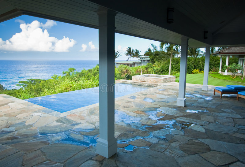 Cubierta hawaiana impresionante de la opinión de océano foto de archivo libre de regalías
