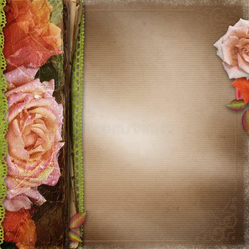 Cubierta hermosa del álbum de las rosas del vintage fotografía de archivo