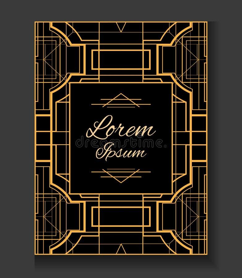 cubierta invitación En el estilo Gatsby ilustración del vector