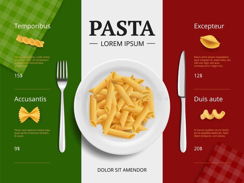 Cubierta italiana del menú Las pastas en los espaguetis deliciosos de los macarrones de la comida del restaurante de la placa que stock de ilustración