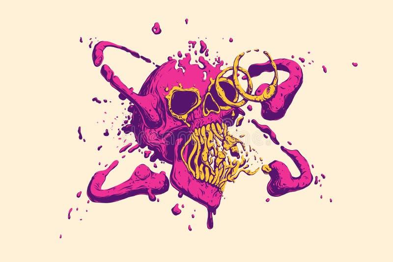 Cubierta líquida multicolora abstracta del cráneo Colores vivos de moda frescos Ilustración del vector ilustración del vector