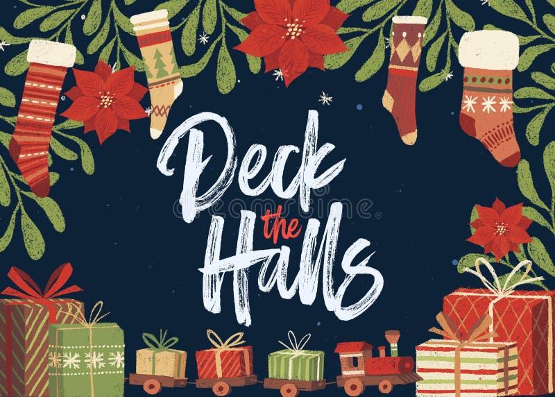 Cubierta la plantilla de la tarjeta de Navidad de los pasillos ilustración del vector