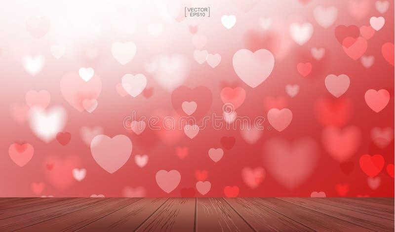 Cubierta o terraza de madera con la luz borrosa de forma del corazón Vector ilustración del vector