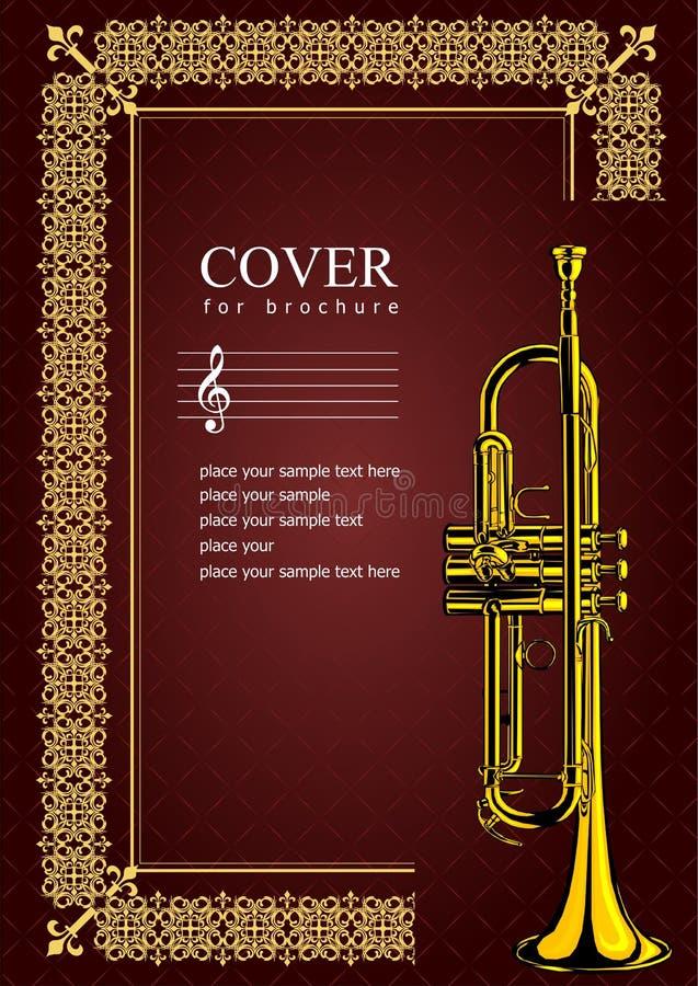 Cubierta para el folleto con imágenes de la trompeta ilustración del vector