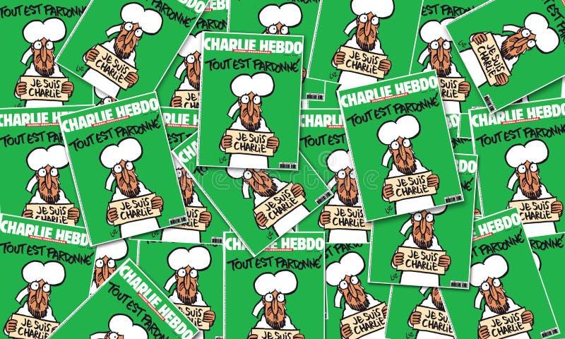 Cubierta revista de Charlie Hebdo del 14 de enero después del ataque del terrorismo, el 7 de enero de 2015 en París stock de ilustración