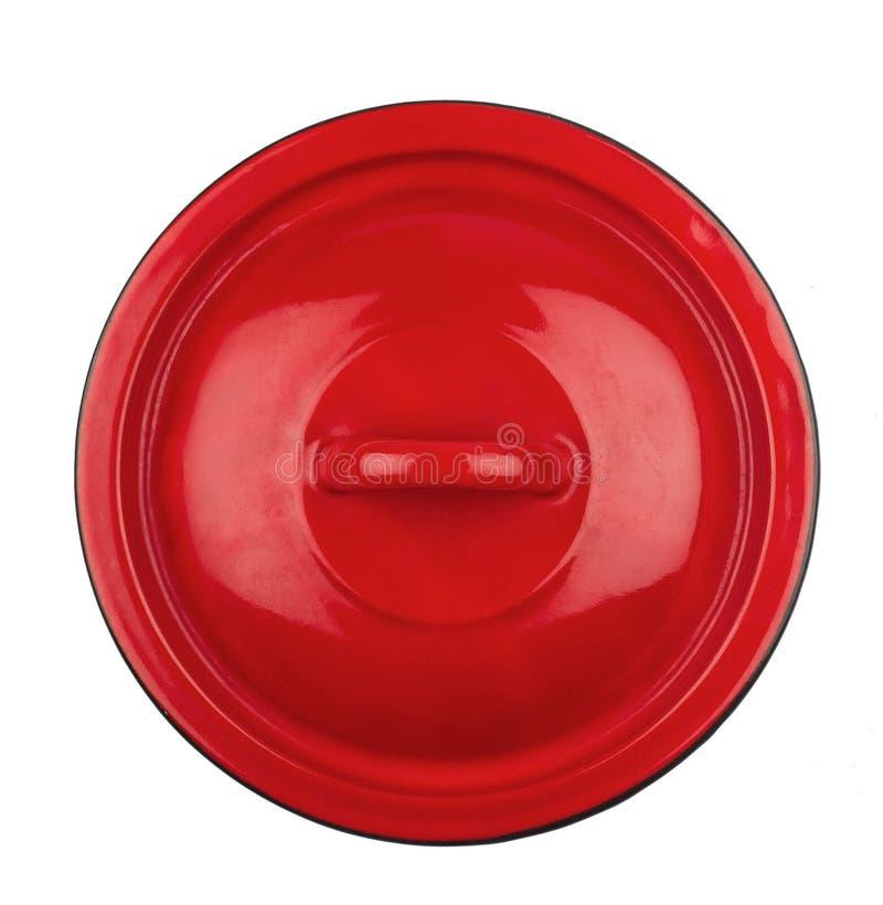 Cubierta roja del pote del metal imágenes de archivo libres de regalías