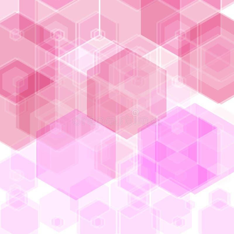 Cubierta rosa clara, amarilla del vector con el sistema de hexágonos Ejemplo abstracto con hexágonos coloridos Hermoso diseño par ilustración del vector